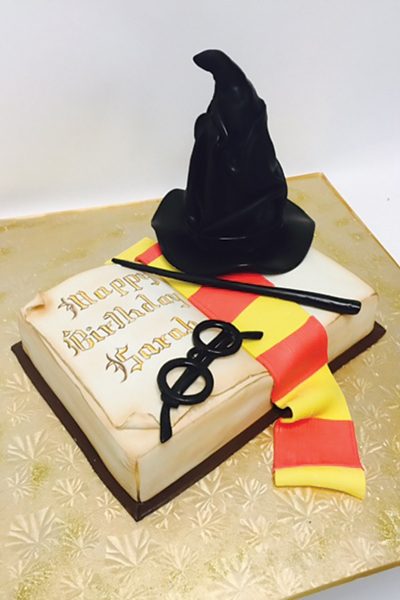 Harry Potter Book Cake Magic Spell Scarf Hat Glasses