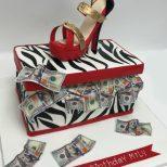 Rich Shoe Box neels money cash zebra pump red heel