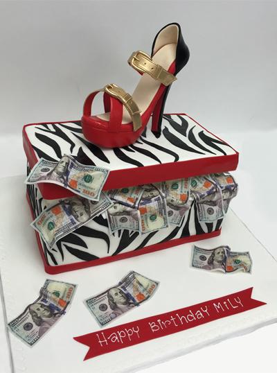 Rich Shoe Box Heels Money Cash Zebra Pump Red Heel